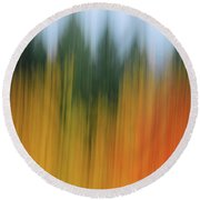 Autumn And Evergreen Round Beach Towel