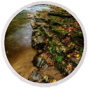 Autumn At Cherry Falls Elk River Round Beach Towel