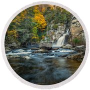 Autumn At Linville Falls - Linville Gorge Blue Ridge Parkway Round Beach Towel