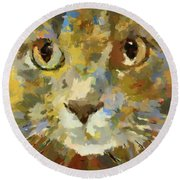 Autumn Cat Round Beach Towel