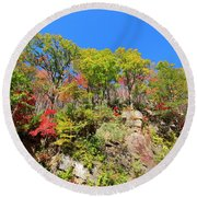 Autumn Color On Newfound Gap Road In Smoky Mountains National Park Round Beach Towel