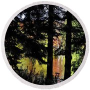 Autumn Colors At The Spa  Round Beach Towel