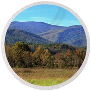 Autumn Colours In Great Smoky Mountains National Park Round Beach Towel