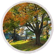Autumn Day In The Salem Willows Salem Ma Red Round Beach Towel