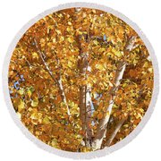 Autumn Golden Leaves Round Beach Towel