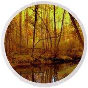 Autumn - Krasna River Round Beach Towel