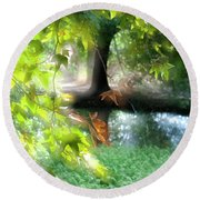 Autumn Leaves In The Morning Light Round Beach Towel