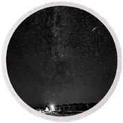 Autumn Night - Sauble Beach - Two Galaxies Bw Round Beach Towel
