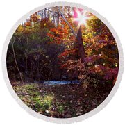 Autumn Starburst Round Beach Towel