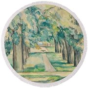Avenue Of Chestnut Trees At The Jas De Bouffan  Round Beach Towel