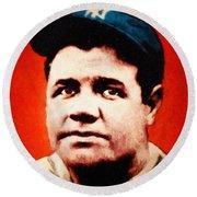 Babe Ruth, Portrait Round Beach Towel