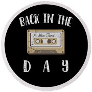 Back In The Day 80s Cassette Funny Old Mix Tape Round Beach Towel