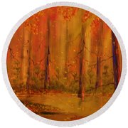 Back Woods Round Beach Towel