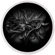 Backyard Flowers In Black And White 67 Round Beach Towel by Brian Carson