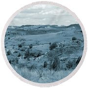 Badlands Cloud Shadows Round Beach Towel
