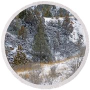 Badlands Winter Round Beach Towel