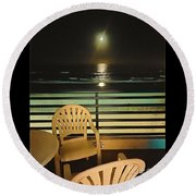 Balcony On The Pacific Oceanside California  Round Beach Towel