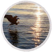 Bald Eagle At Sunset Round Beach Towel