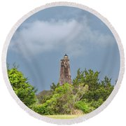 Bald Head Island Lighthouse Round Beach Towel