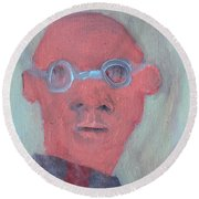 Bald Man In Glasses Round Beach Towel