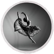 Ballerina Jumping Round Beach Towel