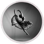 Ballerina Jumping Round Beach Towel