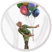 Balloons And Happy Guy Round Beach Towel
