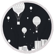 Balloons And The City Round Beach Towel