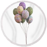 Balloons Classic Floral Round Beach Towel