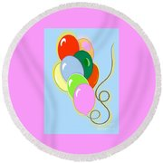 Balloons Of Loose Colors Round Beach Towel