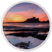 Bamburgh Castle Bam0032 Round Beach Towel