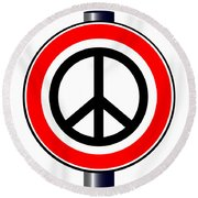 Ban The Bomb Road Sign Round Beach Towel