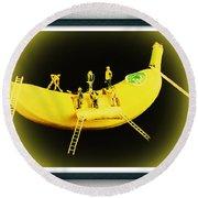 Banana Boat Mining Company Black Frame Round Beach Towel