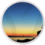 Bandon Lighthouse Twilight Panorama Round Beach Towel