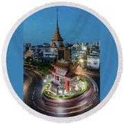 Bangkok Traffic Circle Round Beach Towel