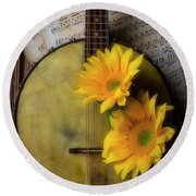 Banjo And Two Sunflowers Round Beach Towel