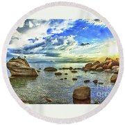 Bansai Rock, Lake Tahoe, Nevada, Panorama Round Beach Towel