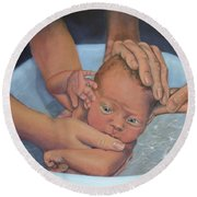 Baptism Of Love Round Beach Towel