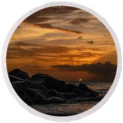 Barbados Sunset Clouds Round Beach Towel