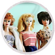 Barbies On Blue Round Beach Towel