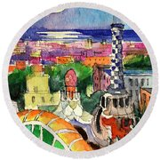 Barcelona By Moonlight Watercolor Painting By Mona Edulesco Round Beach Towel