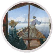 Barge Trip On The Elbe Near Dresden, Morning On The Elbe, 1827 Round Beach Towel