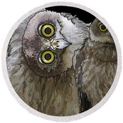 Barking Owls 2 Round Beach Towel