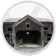 Barn 1886, Old Barn In Walton, Ny Round Beach Towel by Gary Heller