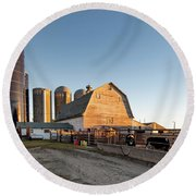 Barn And Silos Round Beach Towel