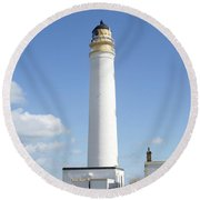 Barns Ness Lighthouse In Summer Round Beach Towel