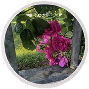 Bars Of Rose Round Beach Towel