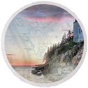 Bass Harbor Lighthouse On A Chart Round Beach Towel