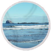 Bass Rock And Beach At North Berwick Round Beach Towel