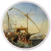 Bataille Navale D'embro, 1346 Round Beach Towel by Eugene Lepoittevin